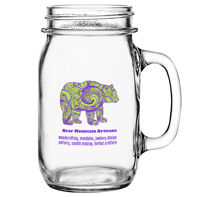 Glass Drinking Jar with Handle 16 oz. Clear